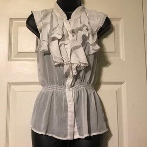 Sheer ruffled blouse